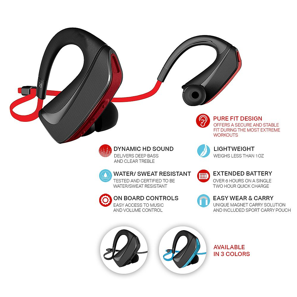jarv pure fit bluetooth 4 0 wireless sport headphones ear. Black Bedroom Furniture Sets. Home Design Ideas