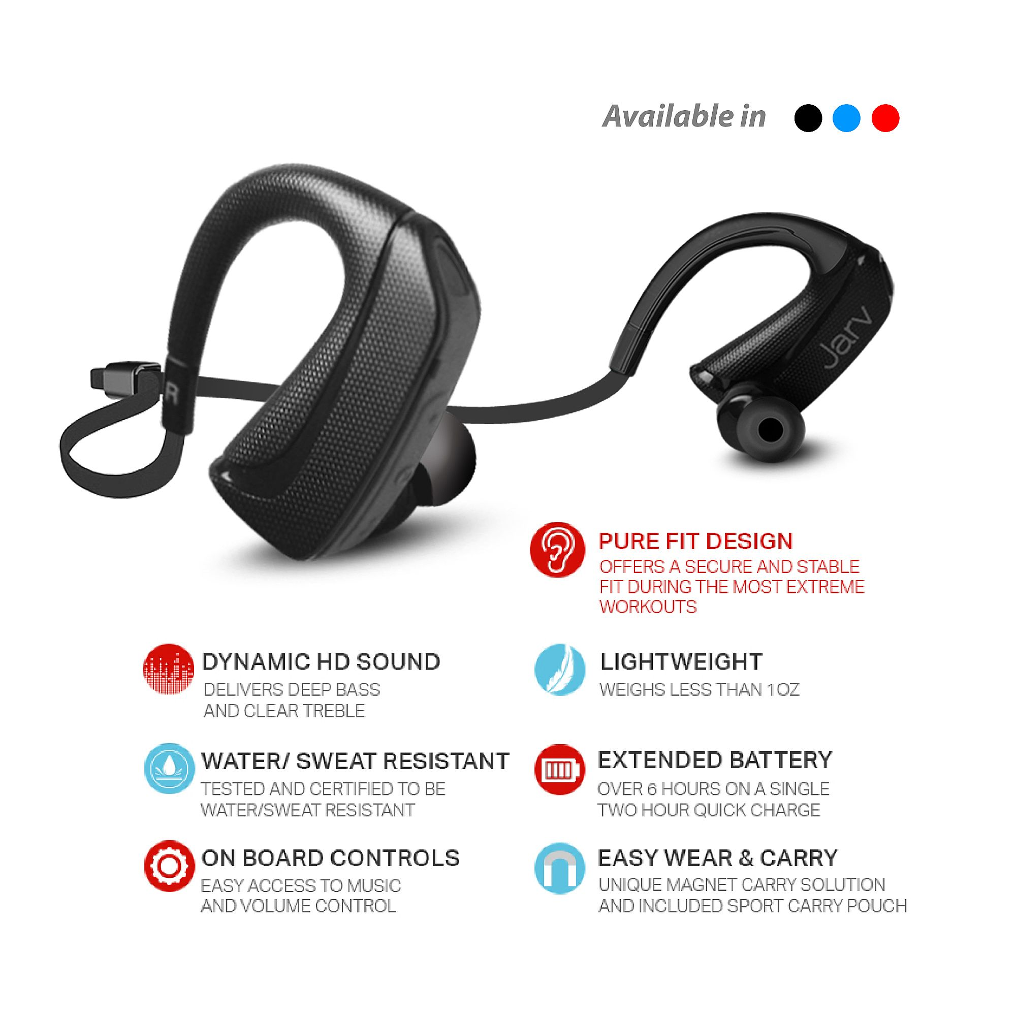 Jarv Pure Fit Version 2 Sport Wireless Bluetooth Earbuds Sweatproof And Water Resistant Ear Hook Design Bluetooth Headphones Blue At Mobilecityonline Com