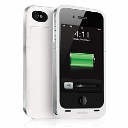mophie Juice Pack Air Rechargeable External Battery Case (White) for iPhone 4/4S (1,500 mAh)