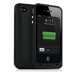 mophie Juice Pack Plus Rechargeable External Battery Case (Black) for iPhone 4/4S (2,000 mAh)