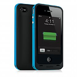 Mophie Juice Pack Plus Rechargeable External Battery Case (Cyan Blue) for iPhone 4/4S (2,000 mAh)