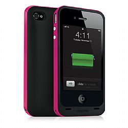 Mophie juice Pack Plus Rechargeable External Battery Case (Magenta) for iPhone 4/4S (2,000 mAh)