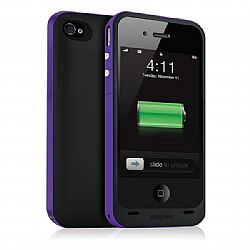 Mophie Juice Pack Plus Rechargeable External Battery Case (Purple) for iPhone 4/4S (2,000 mAh)