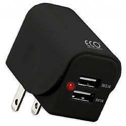 Eco Universal Dual USB Wall Charger 3.1A - Black