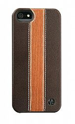 Trexta Snap On Wood & Leather Series Case for iPhone 5 (Cherry Wood/Brown)