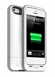 mophie Juice Pack Plus Rechargeable External Battery Case for New iPhone 5 (2100mAh) White