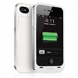 mophie Juice Pack Plus Rechargeable External Battery Case (White) for iPhone 4/4S (2,000 mAh)