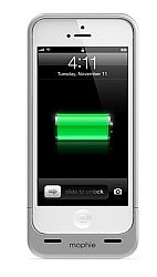 mophie Juice Pack Helium Rechargeable External Battery Case for iPhone 5 (1500mAh) Metallic Silver