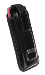 Krusell 95700 Apollo Multidapt Leather Universal Case with SpringClip (Black Small)