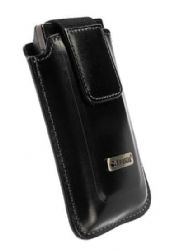 Krusell 95701 Universal Apollo Multidapt Leather Case with SpringClip (Black medium)