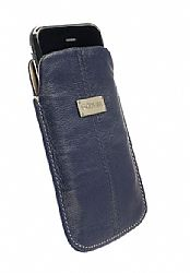 Krusell Luna XL Universal Leather Pouch - Navy/Sand