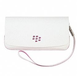 BlackBerry Leather Folio Horizontal Pouch for Blackberry 9100 Pearl (White)