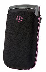 Blackberry Leather Pocket Pouch for Torch 9800/9810 (Black and Pink)