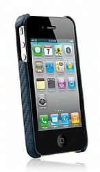 Naztech Carbon Fiber Graphite Shield for iPhone 4 / Verizon iPhone 4 (Blue)
