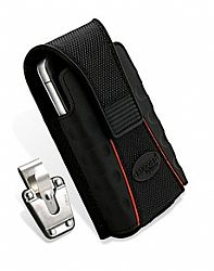 RuggedQX Small Vertical Pouch for iPhone 4 in Black/Red