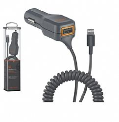 Ventev Charger,1A port+1A cord 12v vehicle, w/Lightning Cable