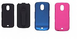 Wireless Solutions Bundle Black Case/Holster and 1 Blue and 1 Pink Snap On Case for Samsung SCH-i515