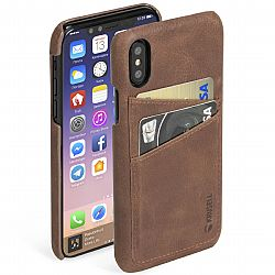 Krusell Sunne 2 Card Cover for Apple iPhone X in Vintage Cognac
