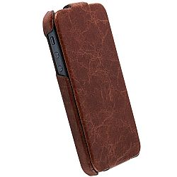Krusell 75537 Tumba SlimCover Premium Leather Flip Case for Apple iPhone 5 - Vintage Brown