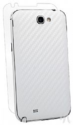 BodyGuardz Armor Carbon Fiber Stylish Protection Skin for Samsung Galaxy Note 2 II - White