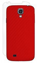 BodyGuardz Carbon Fiber Armor Stylish Skin Full Body Protector for Samsung Galaxy S4 - Red