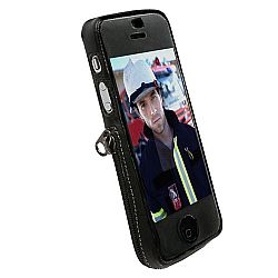 Krusell 89725 Slim Fitted Leather Case for NEW iPhone 5 with Multidapt Spring Clip - Black