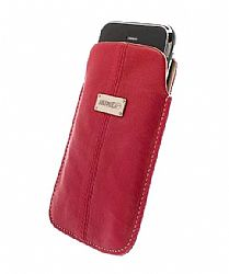 Krusell 95273 Luna XL Universal Leather Pouch - Red/Sand