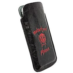 Motorheadphones 95376 Burner Leather Mobile Pouch Large - Black/Red