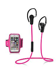 Jarv NMotion Wireless Bluetooth 4.0 Stereo Earbuds with Universal Sports Armband , Pink OPEN BOX