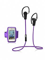 Jarv NMotion Wireless Bluetooth 4.0 Stereo Earbuds with Universal Sports Armband , Purple