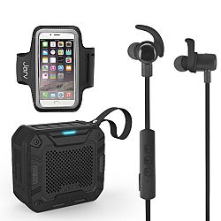 Jarv NMotion Excel Bundle- with Bluetooth Earbuds + Universal armband + Rugged Bluetooth Speaker