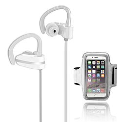 Jarv MACH 1 Sport Wireless  In-Ear Bluetooth Headphones with Universal Sports Armband, White