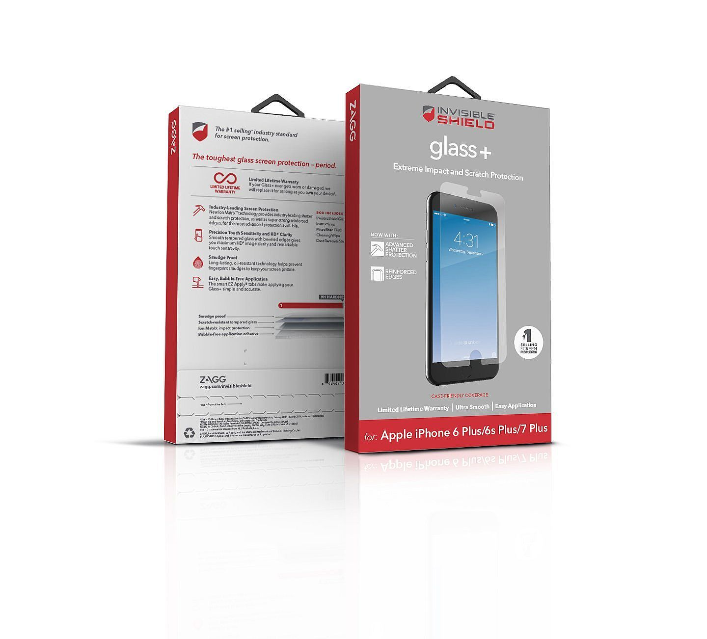brand new 19644 f135a ZAGG InvisibleShield Glass+ Screen Protector – Fits iPhone 8 Plus ...