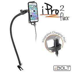 iBOLT iPro2 Flex IBBZ-33782 Commercial Fleet Heavy Duty Metal Seat Rail Vehicle Mount with MFI Apple Approved Lightning Charging/Data cable- Black