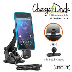 iBOLT ChargeDock USB-C Ultimate Magnetic Vehicle and Desktop Dock/mount/holder w/2m USB Certified Type C to USB-A charging cable. Works with all USB-C phones (Samsung Note 8, S8, Nexus 6P, etc.)