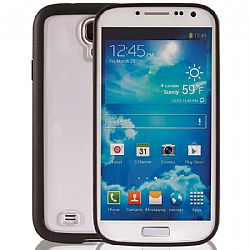 Jarv Snap-on Slim case cover with clear back and black bumper for Samsung Galaxy S4, Clear/Black