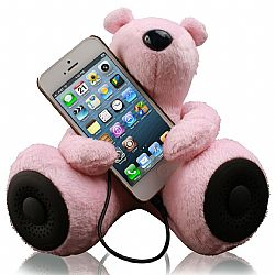 Jarv DJ- Bears Huggy Speakers with Stereo Amplifier for iPhone,iPad, iPod, MP3 players and other devices with Standard 3.5mm Jack, Light Pink