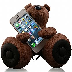 Jarv DJ- Bears Huggy Speakers with Stereo Amplifier for iPhone,iPad, iPod, MP3 players and other devices with Standard 3.5mm Jack, Brown