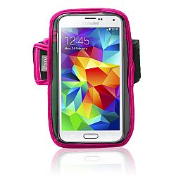 Jarv High Quality Armband for Samsung Galaxy Note 2 / Note 3 / Note 4 with Water Resistant Neoprene Sports Gym Jogging Exercise Strap (Revised Version)-Pink
