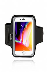 Jarv Universal Sports Armband For smartphones with up to 5 inch display screens- iPhone 7 /8 / iPhone X , Black/Silver, bulk pkg