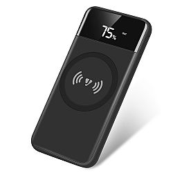 Jarv 10,000mAh Power Bank with 5W Wireless Charge Pad and LED Display , Black
