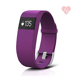Jarv ActiveFit + HR Water-Resistant Fitness Tracker Activity Band & Smart Watch, OLED Display, Bluetooth Wireless Sync and 7-Day Battery - Purple