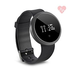 Jarv Life Fit +HR Water-Resistant Bluetooth Activity Tracker Smart Watch with Heart Rate Monitor  -Black/Black
