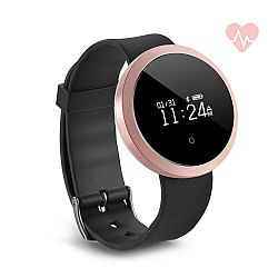 Jarv Life Fit +HR Water-Resistant Bluetooth Activity Tracker Smart Watch with Heart Rate Monitor -Black/Rose Gold
