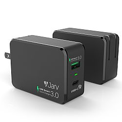 JARV 33W Compact USB 2 port Charger with QC 3.0 USB and Type-C Power Delivery