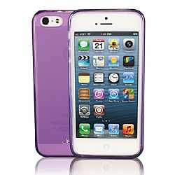 Jarv Flexible TPU Matte finish Snap-on case for iPhone 5, Clear Purple