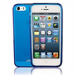 Jarv Flexible TPU Matte finish Snap-on case for iPhone 5, Clear Blue