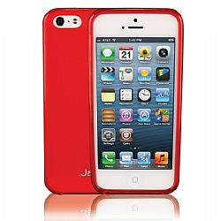 Jarv Flexible TPU Matte finish Snap-on case for iPhone 5, Clear Red