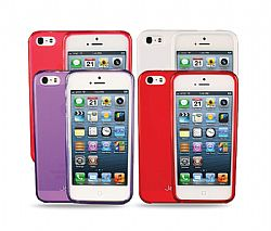 Jarv 4-Pack Flexible TPU Matte finish Snap-on case for iPhone 5 - Purple,Red,Hot Pink,White