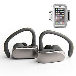 Jarv NMotion Free True Wireless Bluetooth Sport Earbuds with Universal Sports Armband- Silver